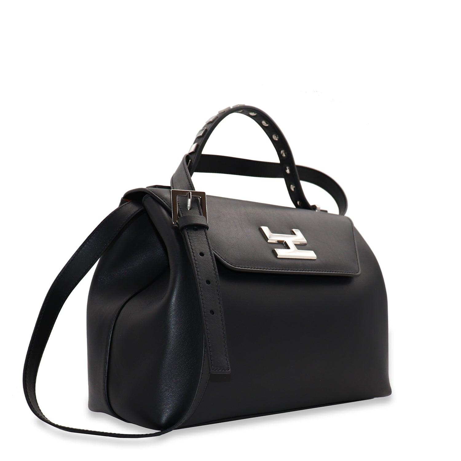 CANIE SMALL BLACK CALFSKIN LEATHER TOP HANDLE BAG