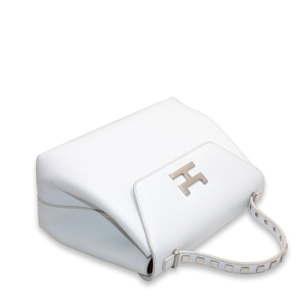 CANIE SMALL WHITE CALFSKIN TOP HANDLE BAG