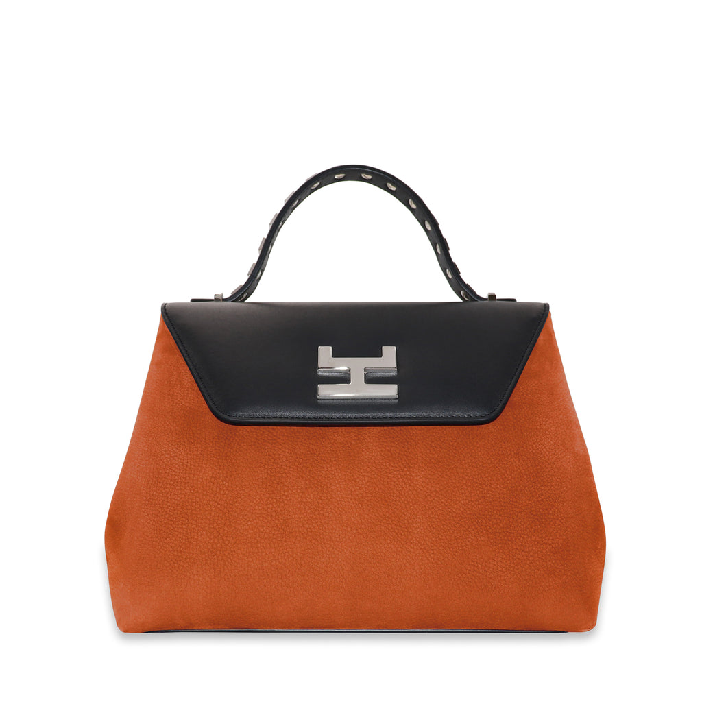 CANIE SMALL RUST NUBUCK LEATHER TOP HANDLE BAG