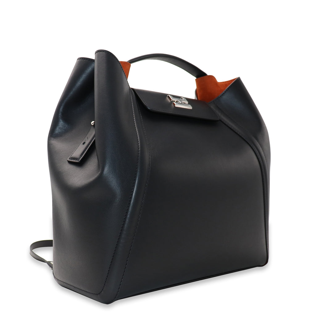 FANIE BLACK CALFSKIN LEATHER BACKPACK