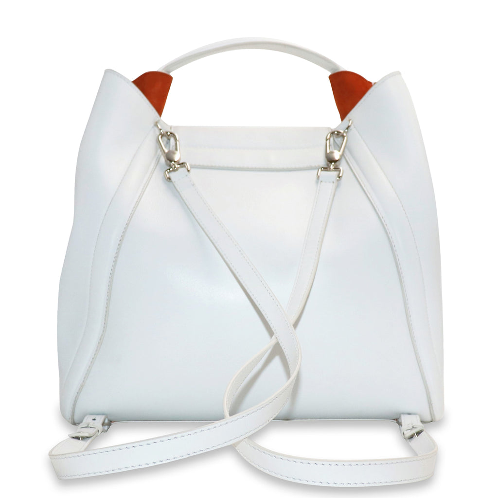 FANIE WHITE CALFSKIN LEATHER BACKPACK