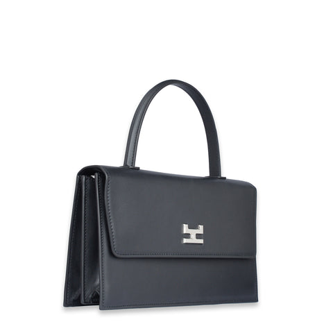 NINEL BLACK CALFSKIN LEATHER SHOULDER BAG