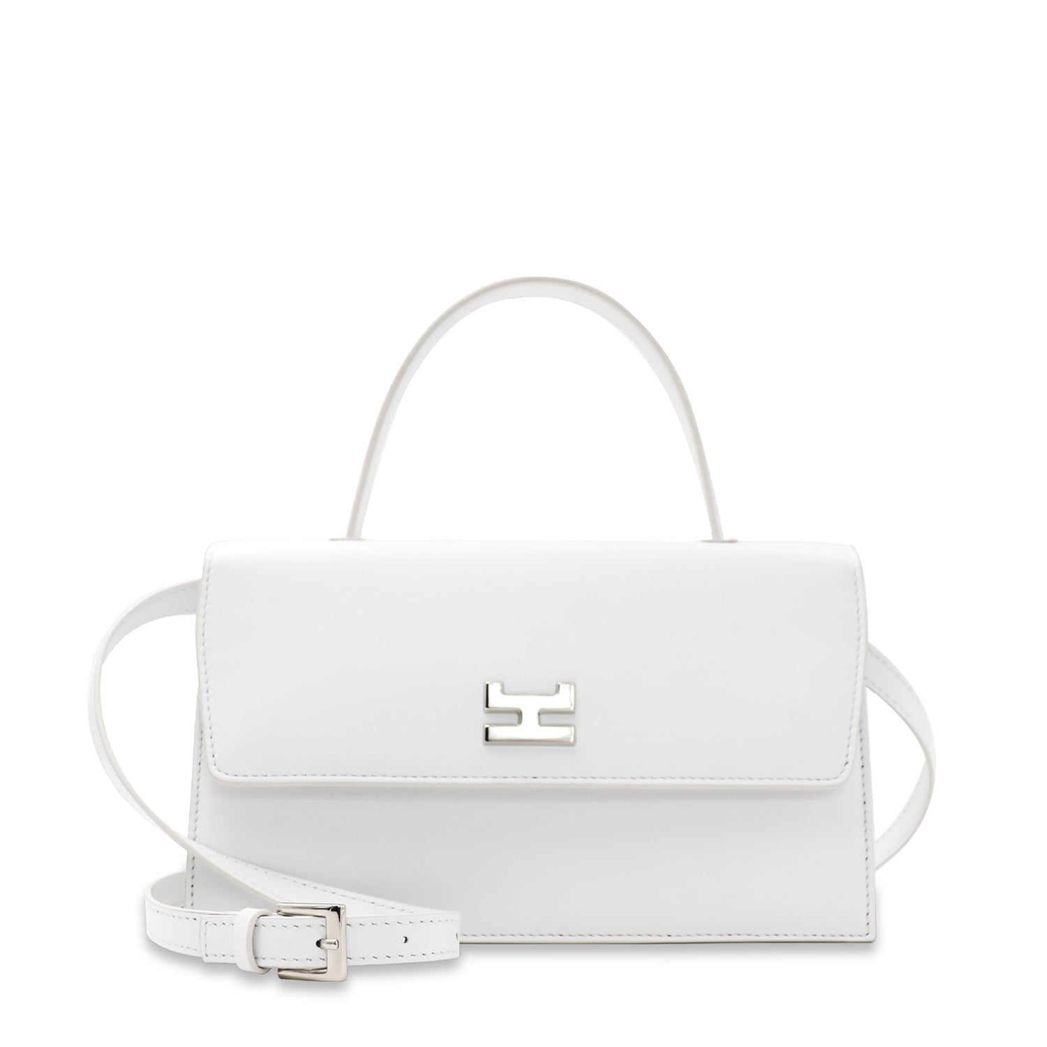 NINEL WHITE CALFSKIN LEATHER SHOULDER BAG