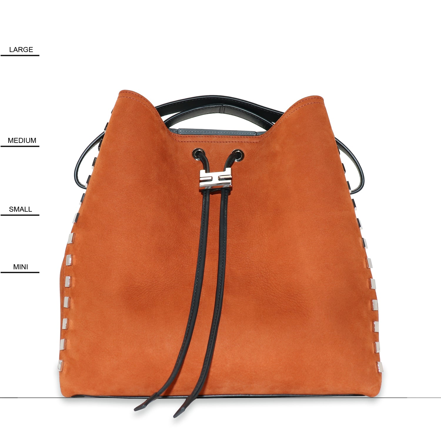 RINIE RUST NUBUCK LEATHER BUCKET BAG