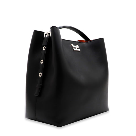 ARANEL BLACK CALFSKIN LEATHER TOP HANDLE BAG