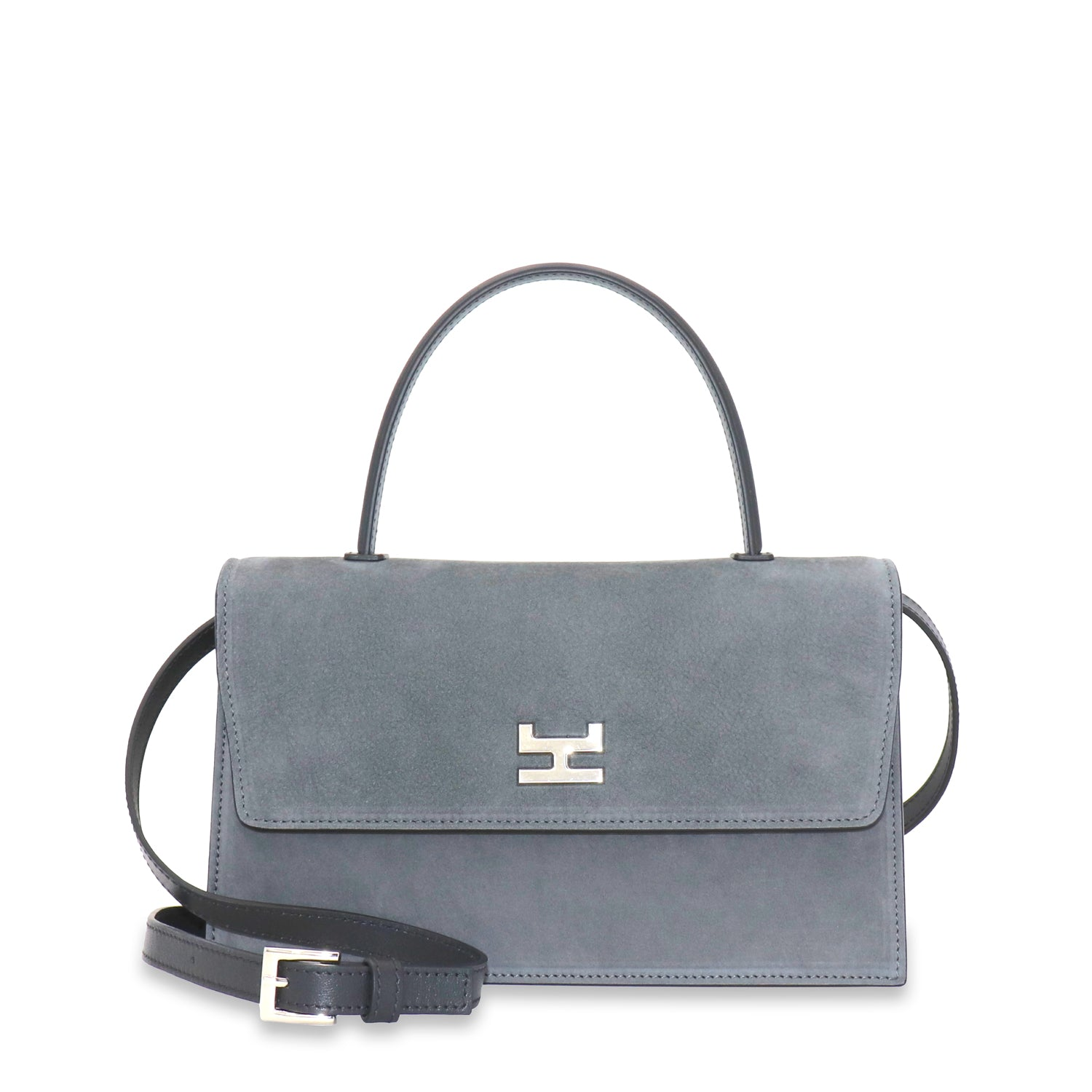 NINEL GRAY NUBUCK WITH BLACK LEATHER TOP HANDLE