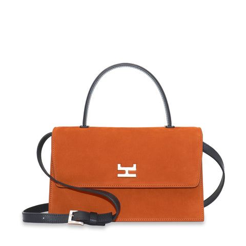 NINEL RUST NUBUCK WITH BLACK LEATHER TOP HANDLE