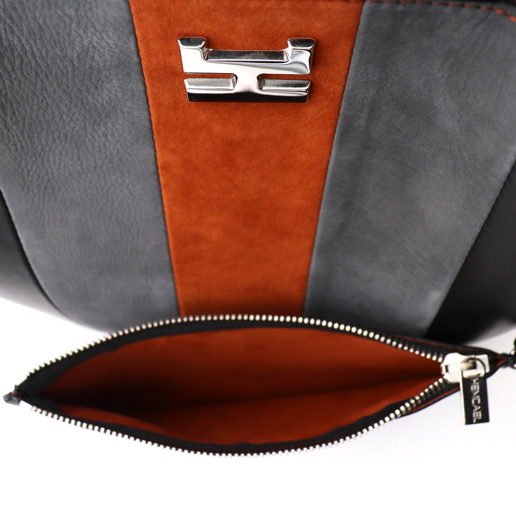 ARANEL CAEL NUBUCK AND CALFSKIN LEATHER TOP HANDLE BAG