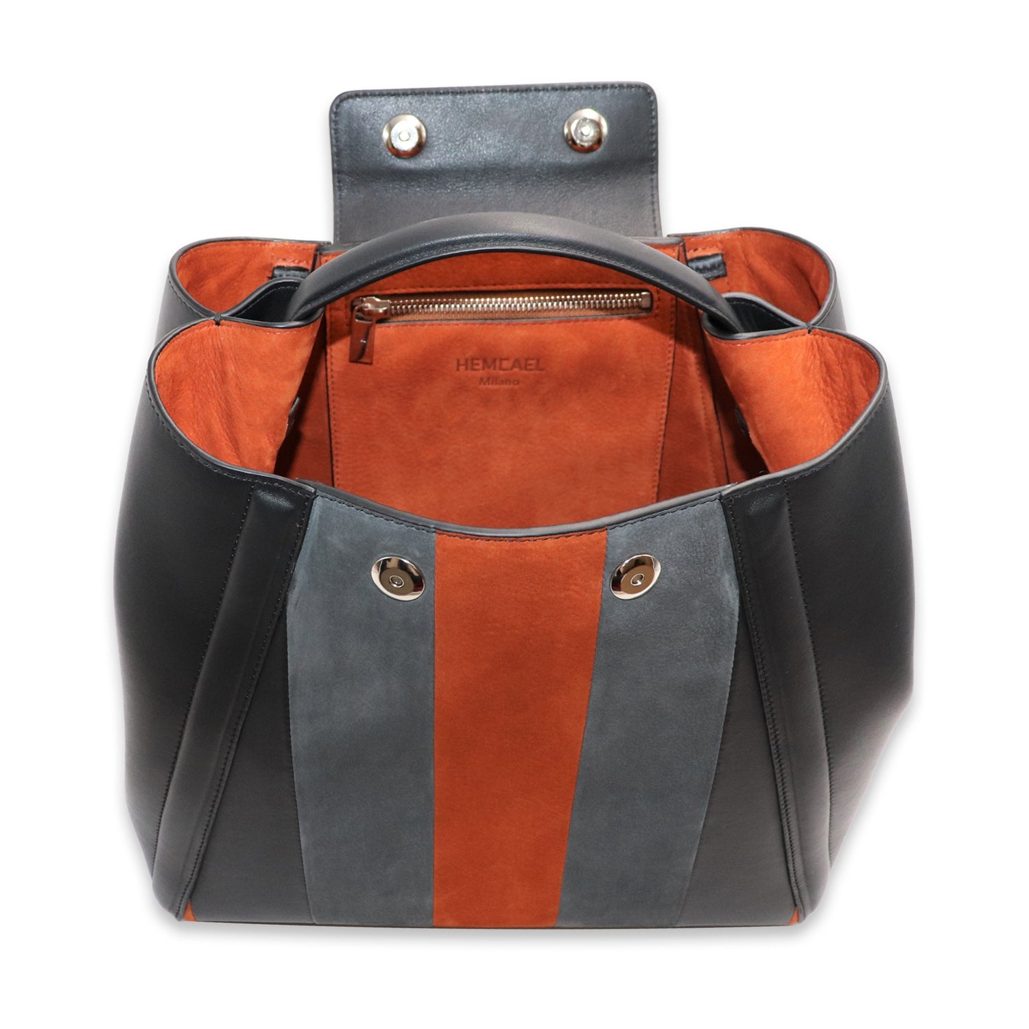 FANIE CAEL NUBUCK AND CALFSKIN LEATHER BACKPACK
