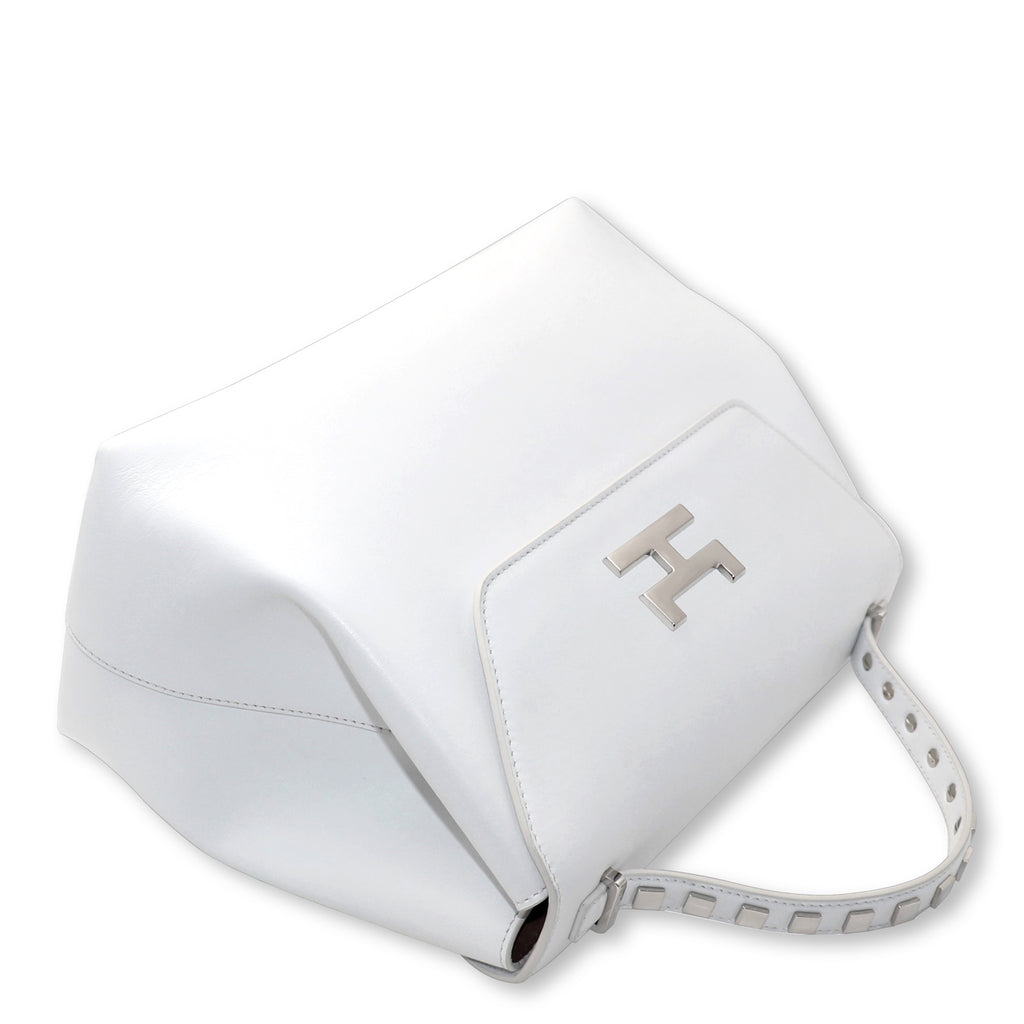 CANIE MEDIUM WHITE CALFSKIN LEATHER TOP HANDLE BAG