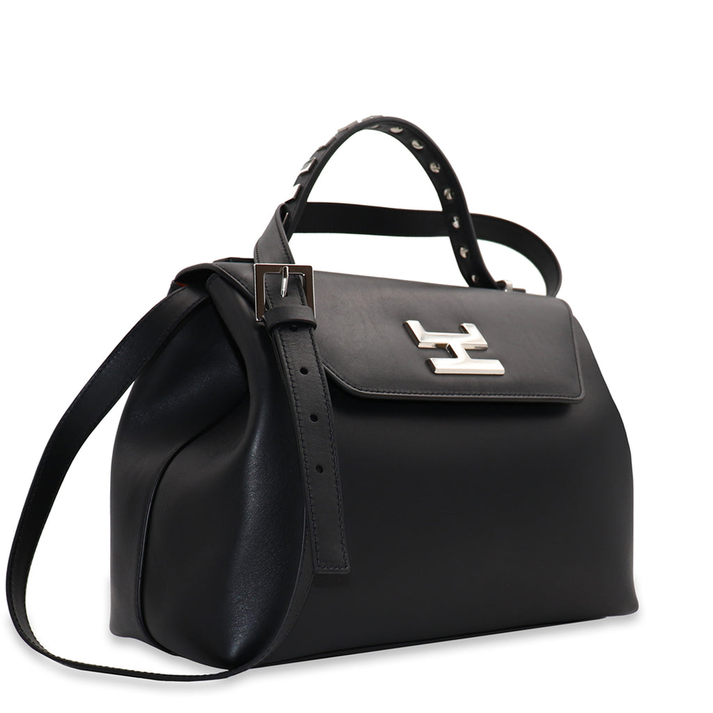 CANIE MEDIUM BLACK CALFSKIN LEATHER TOP HANDLE BAG