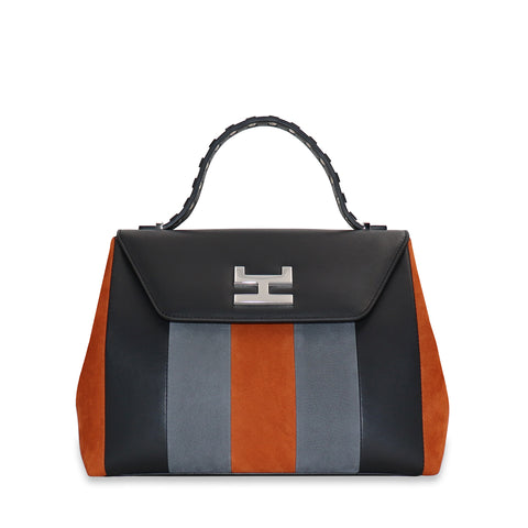 CANIE SMALL CAEL NUBUCK AND CALFSKIN LEATHER TOP HANDLE BAG