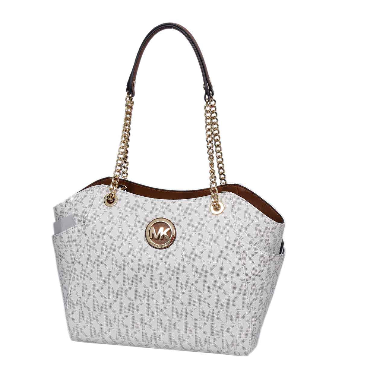 ee08f9549cf6ae MICHAEL KORS JET SET TRAVEL MONOGRAM LARGE CHAIN SHOULDER LEATHER TOTE ...