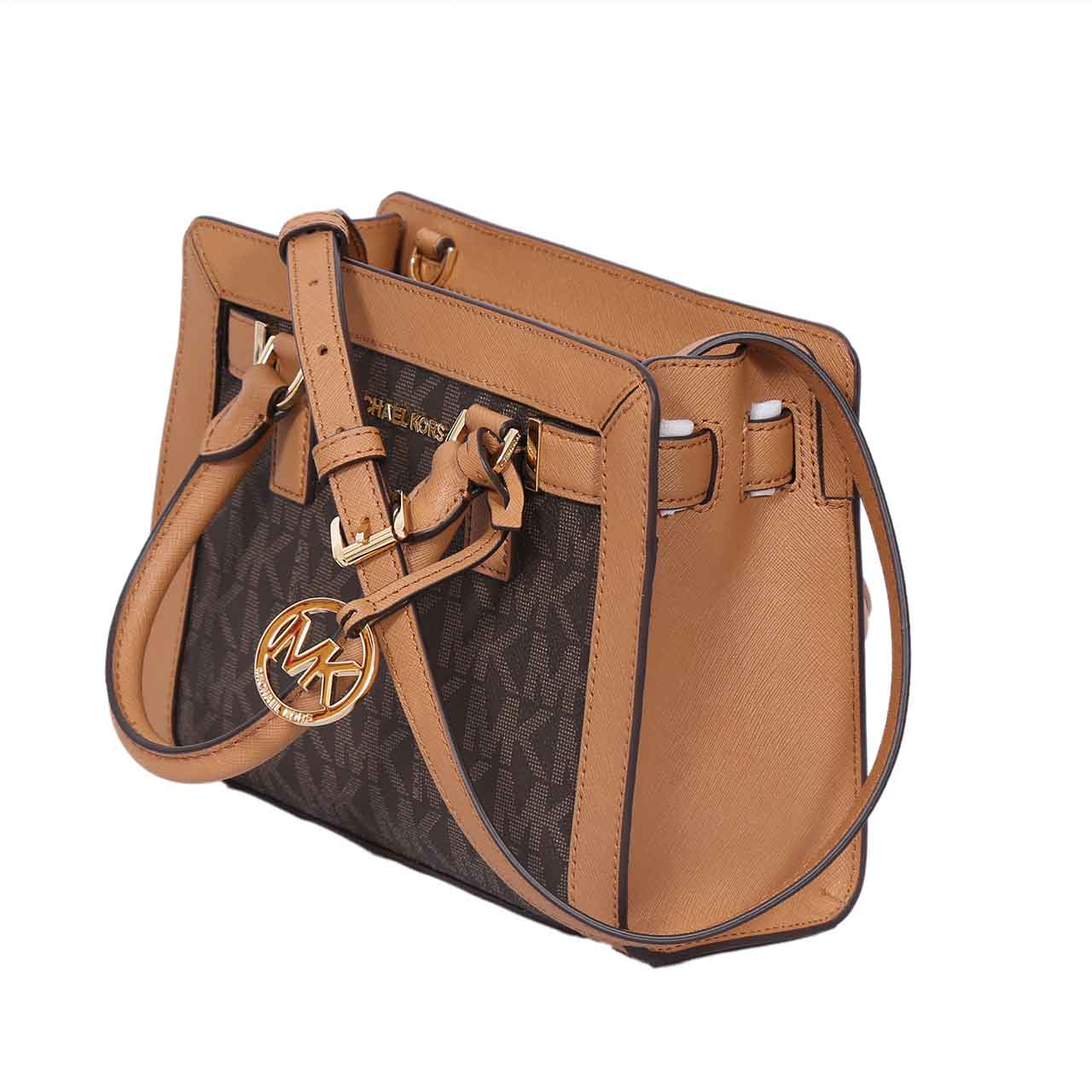 73619ed9661c ... Michael Kors Dillon Monogram Small Satchel /Crossbody Bag Brown ...