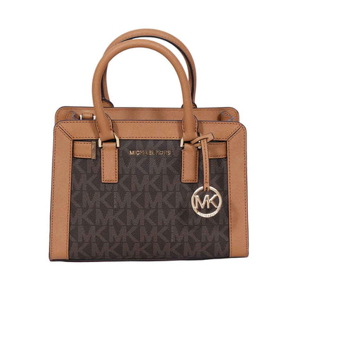 Michael Kors Dillon Monogram Small Satchel /Crossbody Bag Brown