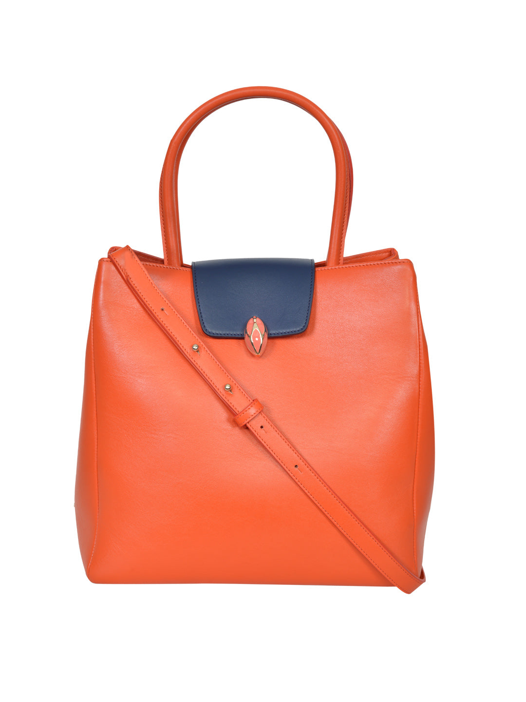 F.E.V BY FRANCESCA VERSACE BI-COLOR LEATHER CITY TOTE BAG