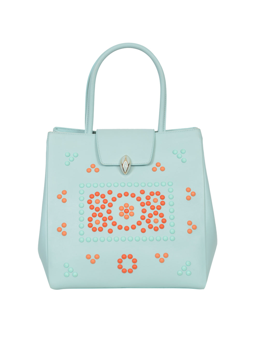 F.E.V BY FRANCESCA VERSACE  LEATHER MEDIUM CITY TOTE AQUA GREEN COLOR BAG WITH MULTICOLOR STUDS