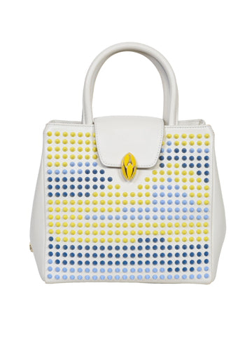 F.E.V BY FRANCESCA VERSACE  LEATHER CITY TOTE BAG WITH MULTICOLOR STUDS MEDIUM SIZE