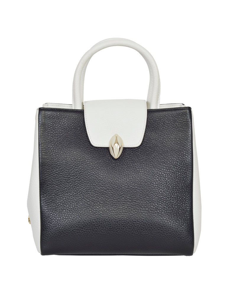 F.E.V BY FRANCESCA VERSACE DUAL TONED LEATHER CITY TOTE BAG