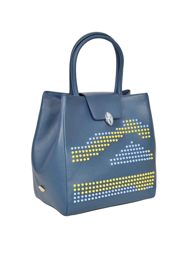 F.E.V BY FRANCESCA VERSACE  BLUE LEATHER  LARGE CITY TOTE BAG WITH MULTICOLOR STUDS