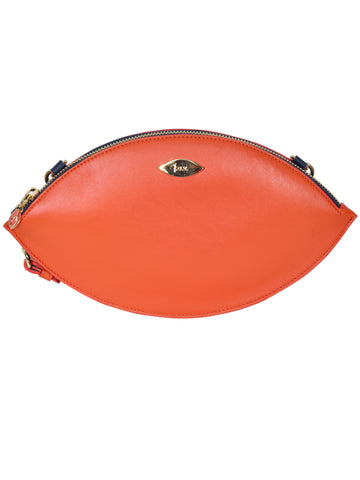 F.E.V BY FRANCESCA VERSACE BICOLOR LEATHER ALMOND EVE CLUTCH
