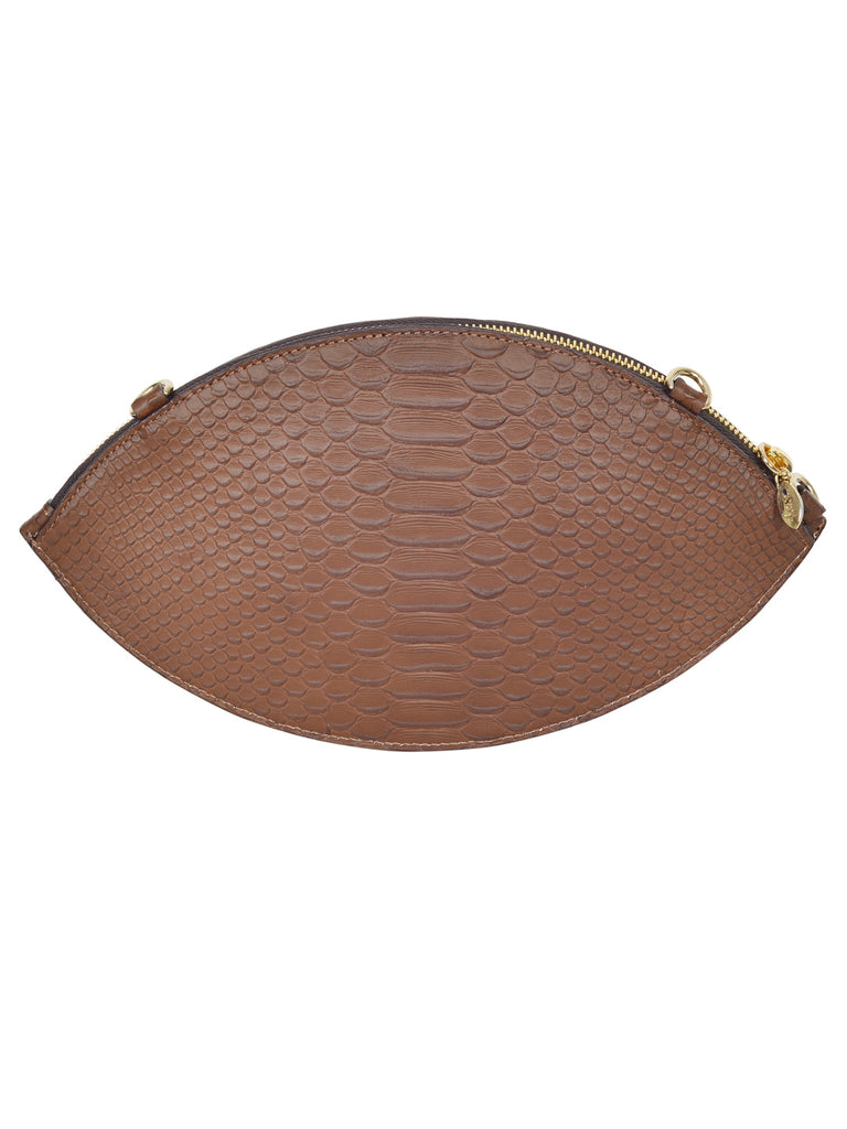 F.E.V BY FRANCESCA VERSACE SNAKESKIN LEATHER ALMOND EVE CLUTCH