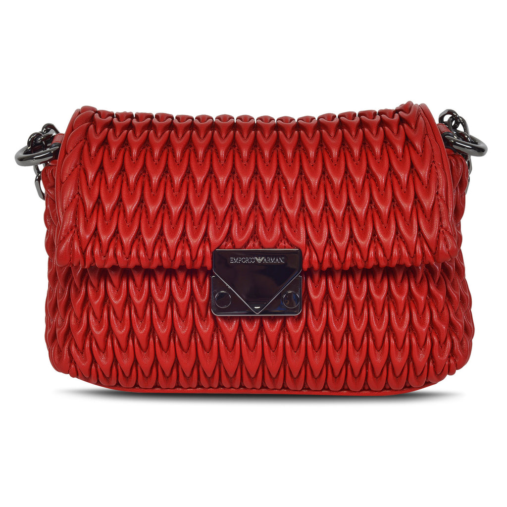 EMPORIO ARMANI DESIGNER WOMEN'S LEATHER  QUILTED FLAP SLING BAG