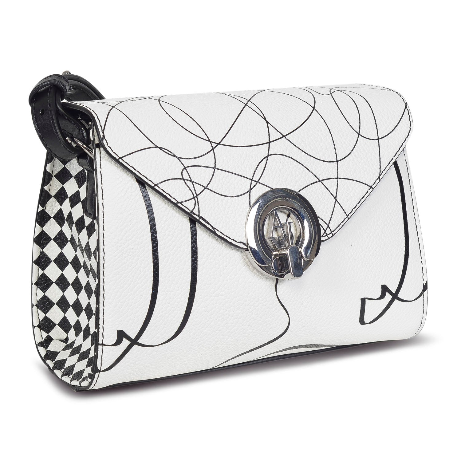 ARMANI DESIGNER WOMEN'S LEATHER black and white CROSSBODY BAG