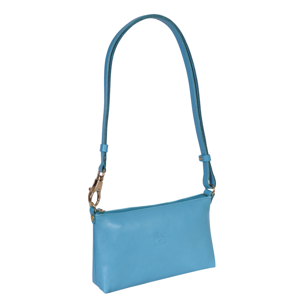 IL BISONTE LANDSCAPE WOMAN'S SIMPLE SHOULDER BAG IN TURQUOISE COWHIDE LEATHER