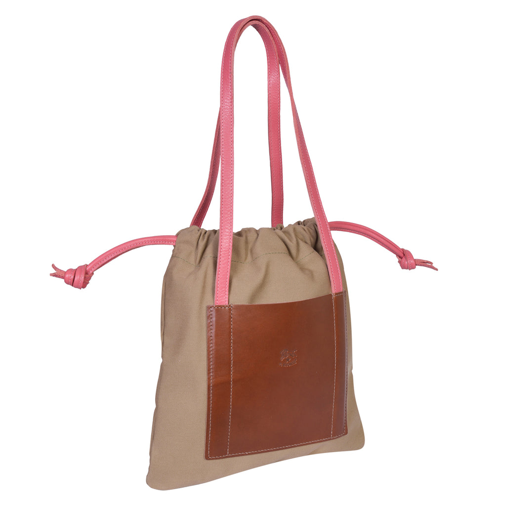 IL BISONTE  CASUAL WOMAN'S DRAWSTRING TOTE BAG IN BEIGE CANVAS