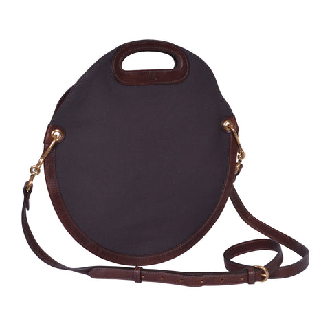 IL BISONTE  CASUAL WOMAN'S CIRCULAR HANDBAG IN DARK BROWN TECHNICAL FABRIC