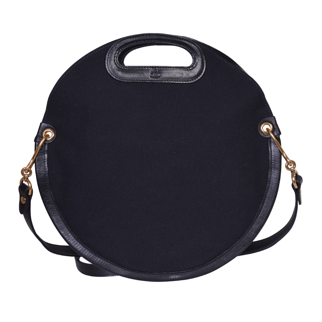IL BISONTE  CASUAL WOMAN'S CIRCULAR HANDBAG IN BLACK TECHNICAL FABRIC
