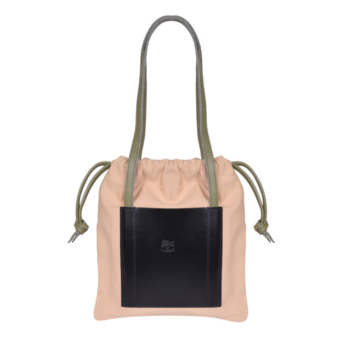 IL BISONTE  CASUAL WOMAN'S DRAWSTRING TOTE BAG IN CREAM CANVAS