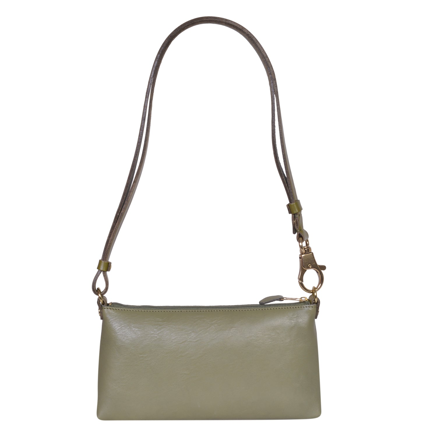 IL BISONTE LANDSCAPE WOMAN'S SIMPLE SHOULDER BAG IN OLIVE COWHIDE LEATHER