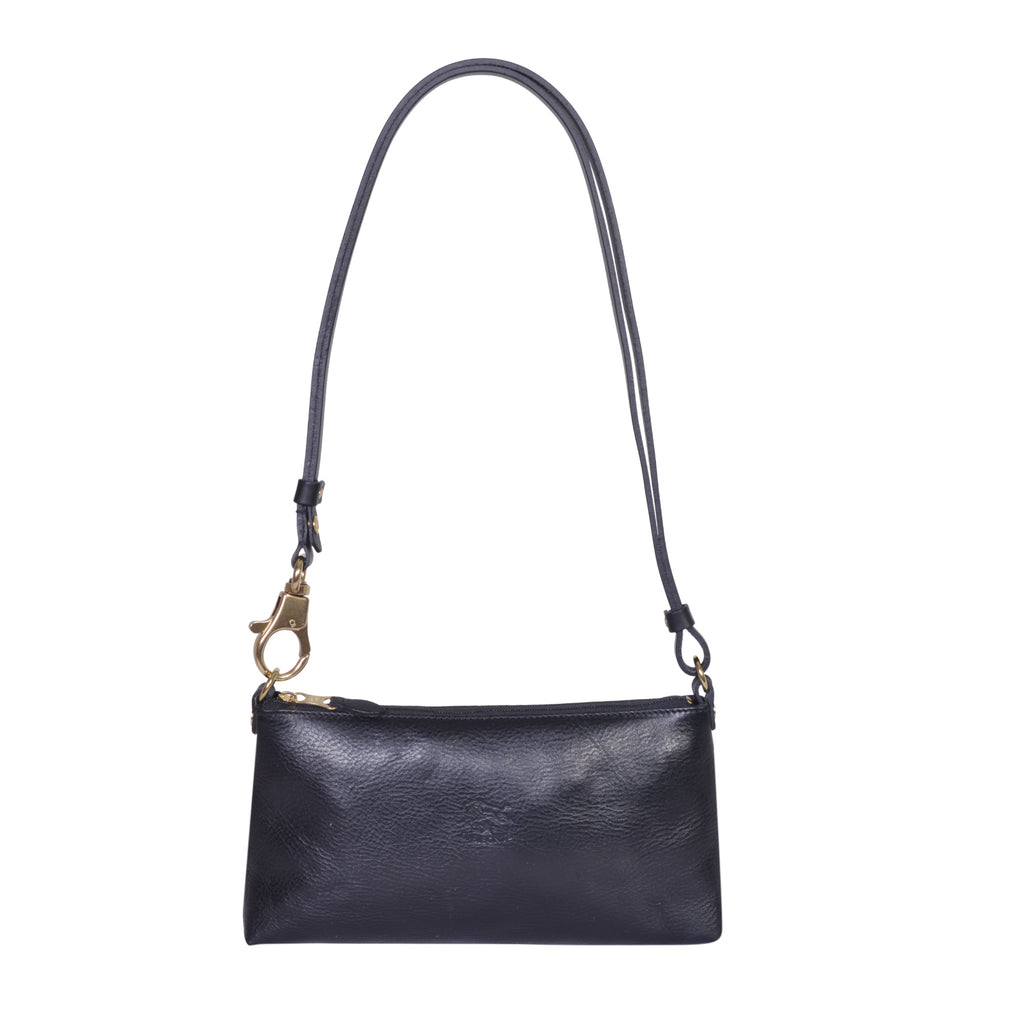 IL BISONTE LANDSCAPE WOMAN'S SIMPLE SHOULDER BAG IN BLACK COWHIDE LEATHER