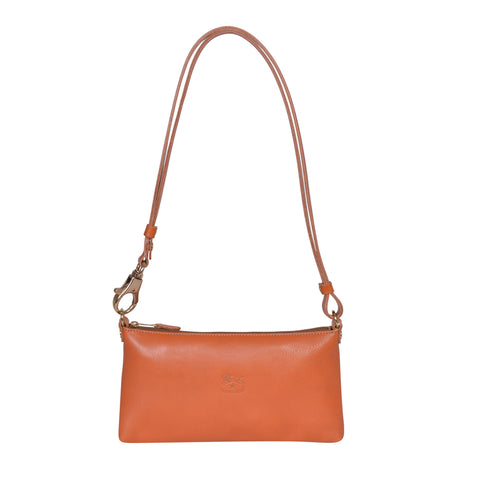 IL BISONTE LANDSCAPE WOMAN'S SIMPLE SHOULDER BAG IN CARAMEL COWHIDE LEATHER