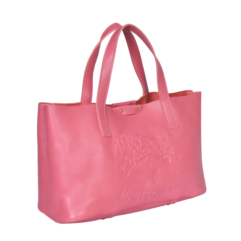 IL BISONTE  PITTI WOMAN'S TOTE BAG IN GERANIUM COWHIDE LEATHER