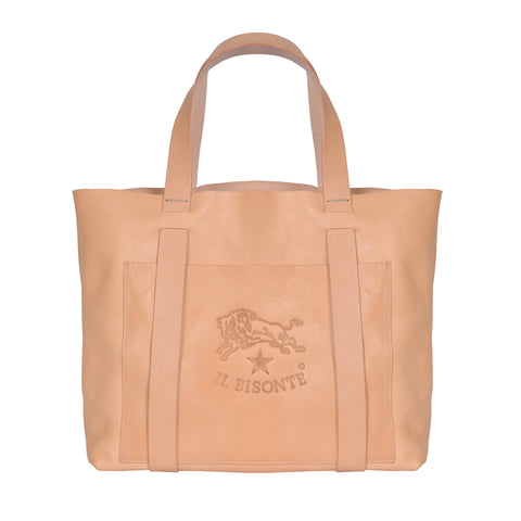 IL BISONTE  WOMAN'S TOTE HANDBAG IN NATURAL COWHIDE LEATHER