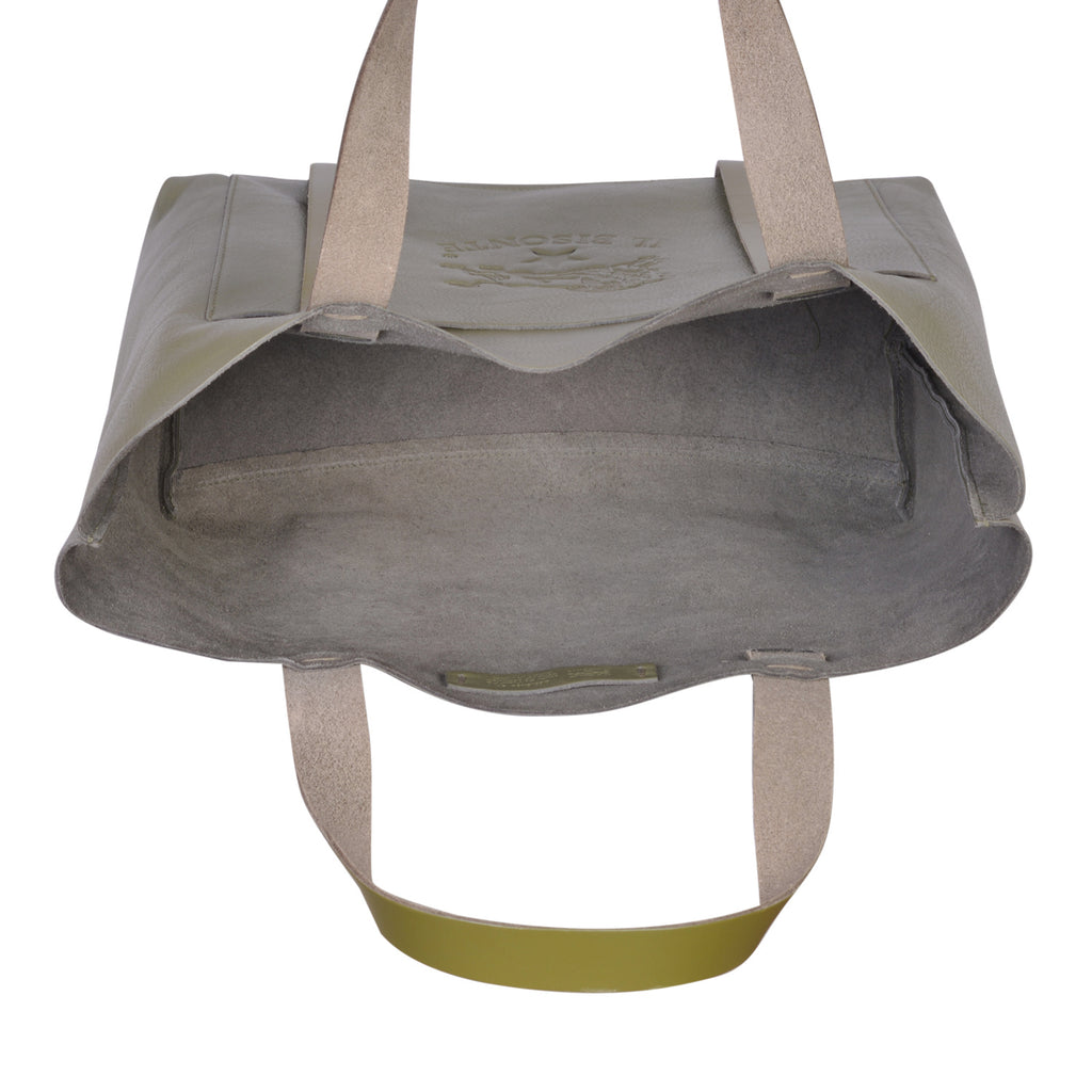 IL BISONTE  WOMAN'S TOTE HANDBAG IN OLIVE COWHIDE LEATHER