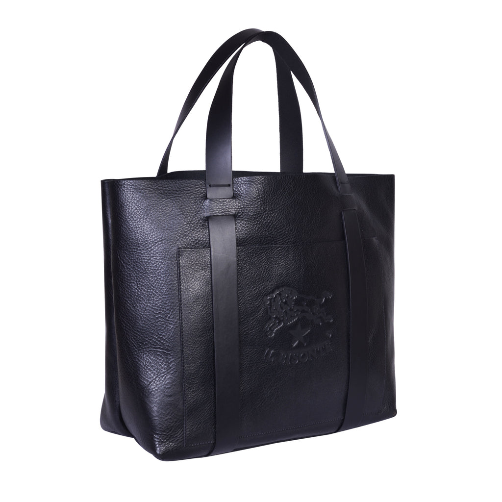 IL BISONTE  WOMAN'S TOTE HANDBAG IN BLACK COWHIDE LEATHER