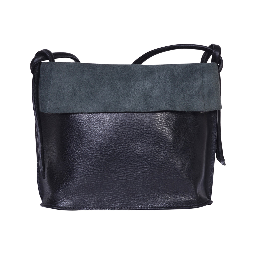 IL BISONTE LANDSCAPE WOMAN'S CROSSBODY BAG  IN BLACK COWHIDE LEATHER
