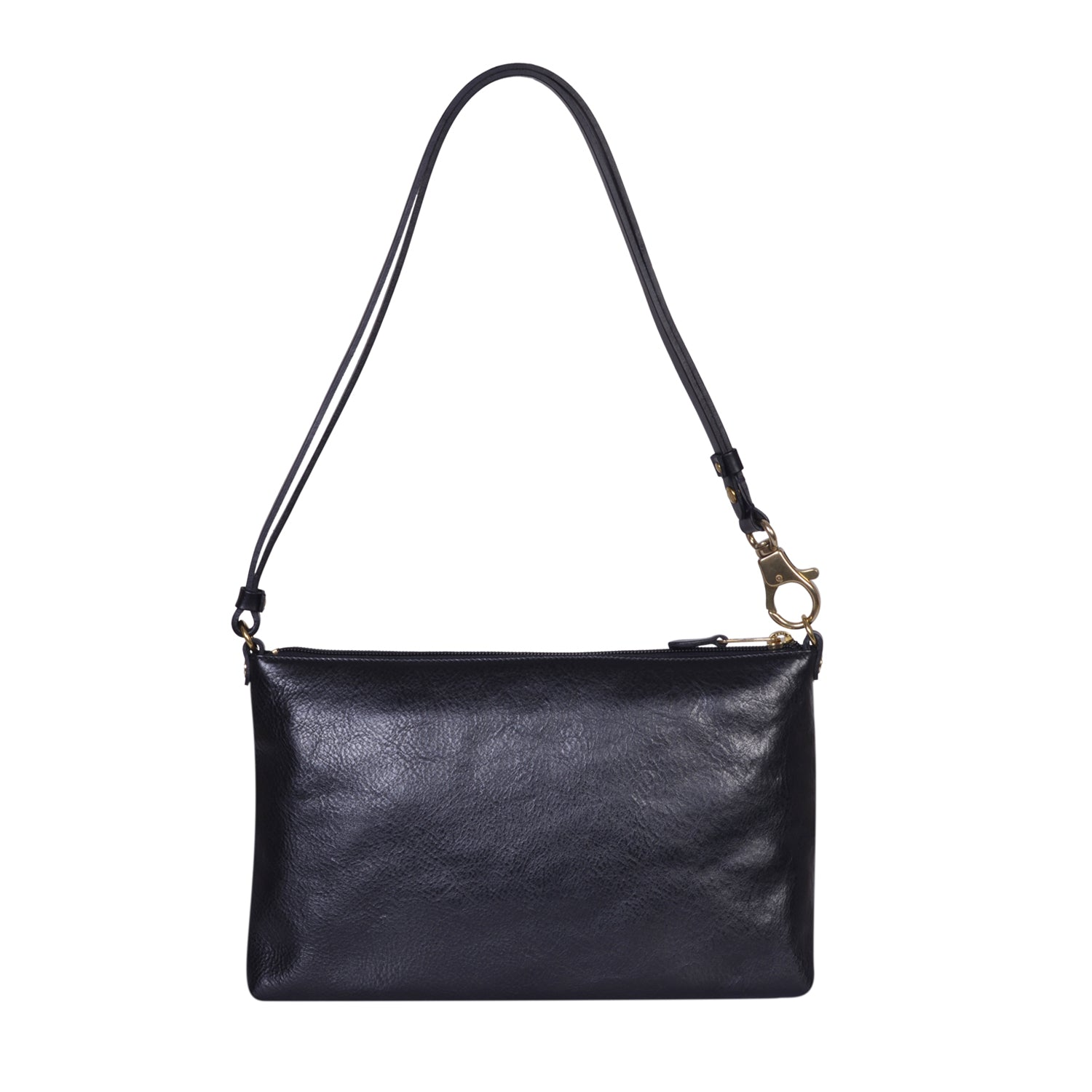 IL BISONTE  WOMAN'S  SHOULDER BAG  IN BLACK COWHIDE LEATHER