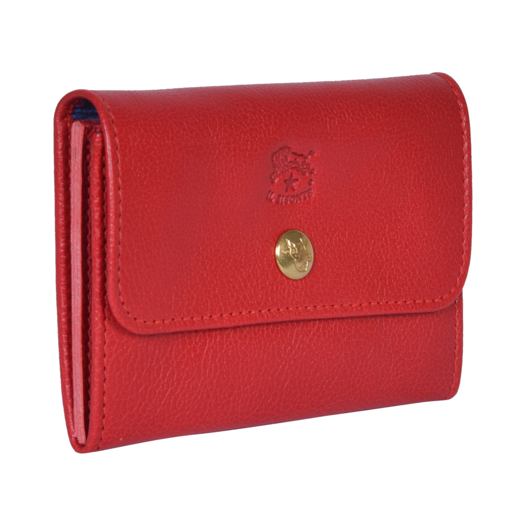 IL BISONTE LIBERTY WOMAN'S  WALLET  IN RED GRAIN COWHIDE LEATHER