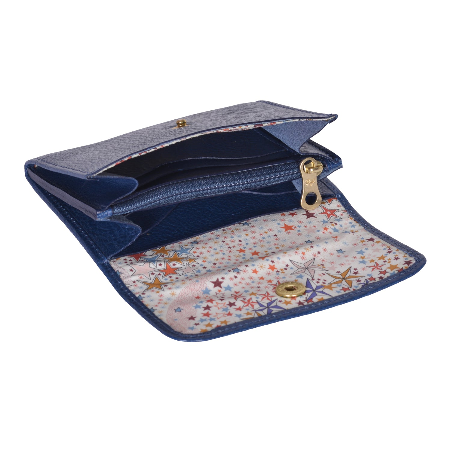 IL BISONTE LIBERTY WOMAN'S  WALLET  IN BLUE GRAIN COWHIDE LEATHER