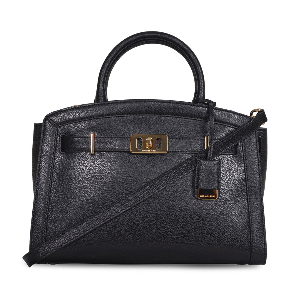 2de2d704dc80 MICHAEL KORS KARSON LARGE BLACK LEATHER SATCHEL BAG – Galleria di Lux
