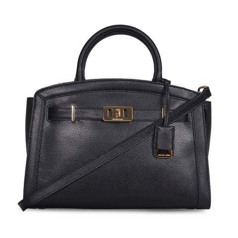 MICHAEL KORS KARSON LARGE BLACK LEATHER SATCHEL BAG
