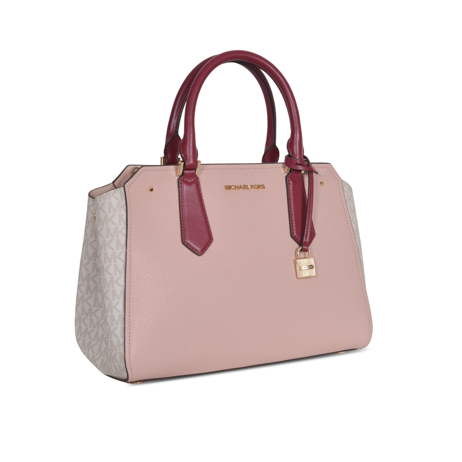 MICHAEL KORS HAYES LARGE  LEATHER DUAL TONE ( PASTEL PINK & white ) SATCHEL CROSSBODY BAG