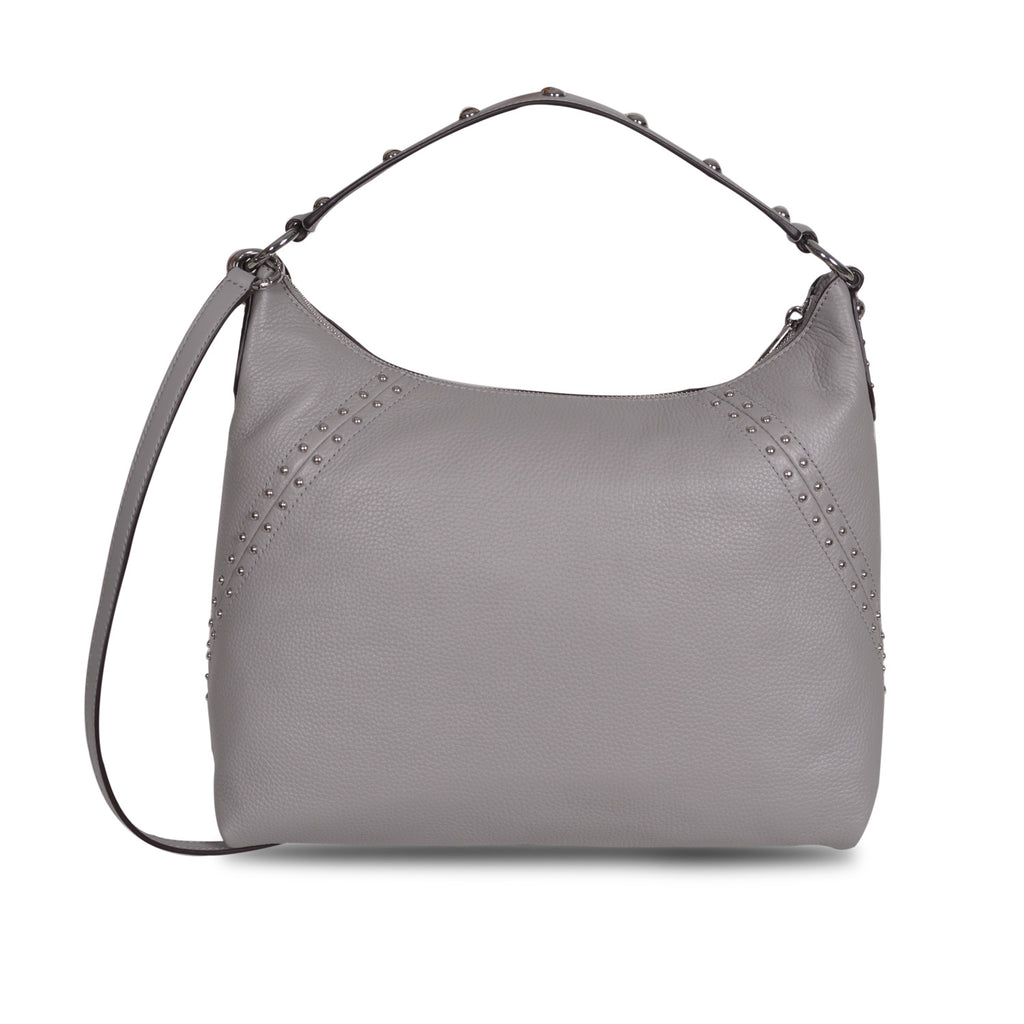 2cf34d86f7b9 MICHAEL KORS ARIA ASH GREY LEATHER SHOULDER BAG – Galleria di Lux