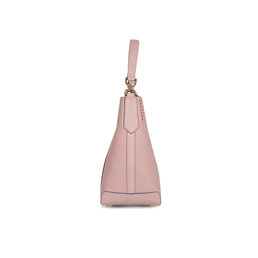 MICHAEL KORS HAYES LARGE BALLET PINK LEATHER BUCKET BAG