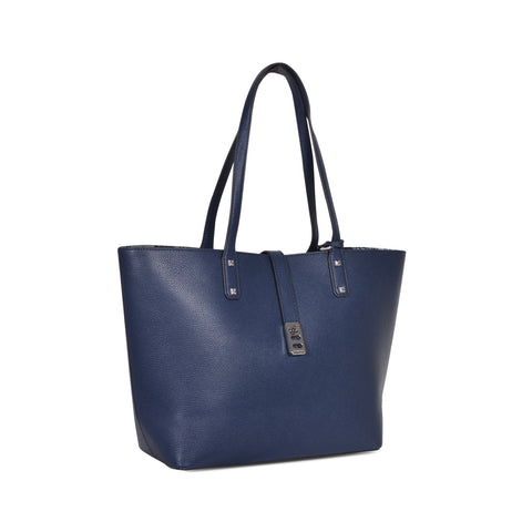 MICHAEL KORS KARSON LARGE NAVY LEATHER CARRY-ALL TOTE  BAG